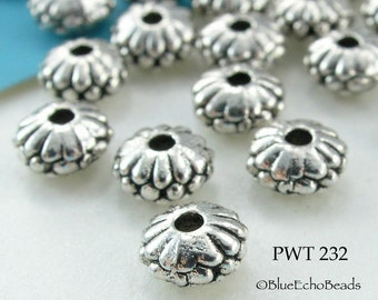 6mm Pewter Small Flower Spacer Saucer Beads Antique Silver (PWT 232) 25 pcs BlueEchoBeads
