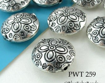 18mm Pewter Coin Beads Flower Antique Silver (PWT 259) 5 pcs Blue Echo Beads