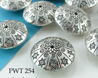 Large 24mm Pewter Beads Antique Silver Stars and Circles (PWT 254) 2 pcs BlueEchoBeads