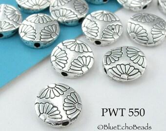 12mm Pewter Beads Fan Flower Disk Coin Bead (PWT 550) 8 pcs BlueEchoBeads