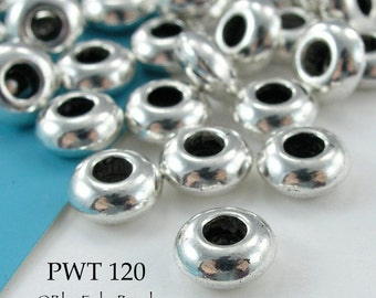 Large Hole Beads Pewter 7mm Rondelle Antique Silver (PWT 120) 12 pcs BlueEchoBeads