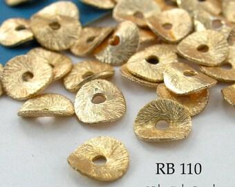 6mm Gold Plated Potato Chip Beads Wavy Disks  (RB 110) 15 pcs BlueEchoBeads