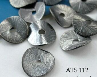 10mm Antique Silver Potato Chip Beads, Wavy Disks (ATS 112) 10 pcs BlueEchoBeads
