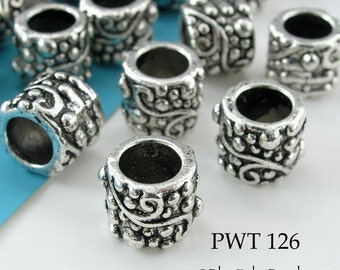 Large Hole Pewter Beads Tube with Scroll 9mm Antique Silver (PWT 126) 8 pcs BlueEchoBeads
