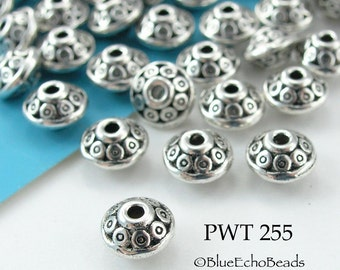 6mm Pewter Beads, Antique Silver, Small Greek Circles, Top (PWT 255) 20 pcs