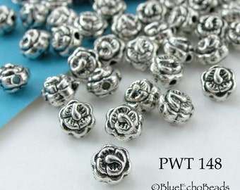 4mm Mini Rose Flower Pewter Beads Antique Silver Round (PWT 148) 40 pcs BlueEchoBeads