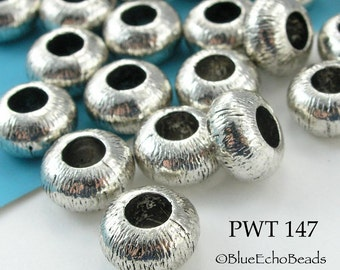 Large Hole Rondelle Beads Pewter 10mm Antique Silver (PWT 147) 10 pcs BlueEchoBeads