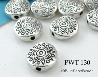 11mm Pewter Sun Disk, Coin Bead (PWT 130) 12 pcs BlueEchoBeads