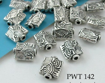 Pewter Beads Small Rectangle with Waves, Antique Silver Tone (PWT 142)  25pcs BlueEchoBeads