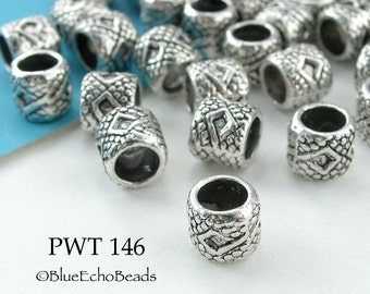 7mm Large Hole Pewter Tube Beads with Diamonds Antique Silver (PWT 146) BlueEchoBeads 15 pcs
