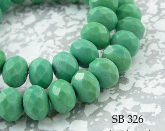 Czech Glass Beads Fresh Jade Green Rondelle 8mm (SB 326) 12 pcs BlueEchoBeads