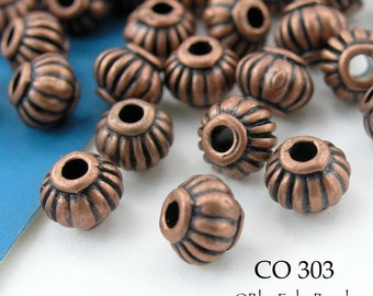 5mm Small Copper Ribbed Spacer Beads Antiqued Copper (CO 303) 16 pcs