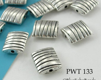 10mm Puffy Rectangle Pewter Beads, Lines, Silver Tone (PWT 133) 12pcs BlueEchoBeads