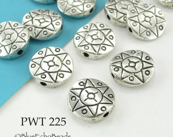12mm Pewter Beads Sun Star Disk Antique Silver (PWT 225) 15 pcs BlueEchoBeads