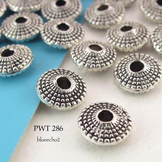 Pewter Beads Antique Silver Beaded Saucer (PWT 286) 25 pcs BlueEchoBeads