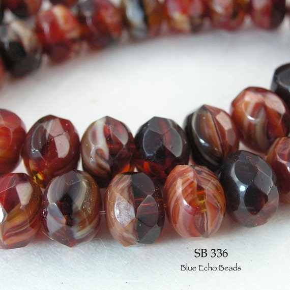 8mm Czech Rondelle Glass Beads Bing Cherry Red (SB 336) 12 pcs BlueEchoBeads