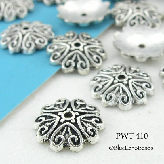 Pewter Bead Caps Antique Silver Scroll (PWT 410) blueecho 30 pcs