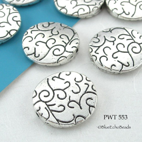 Pewter Beads Large Disk Silver Tone (PWT 553) blueecho 5 pcs
