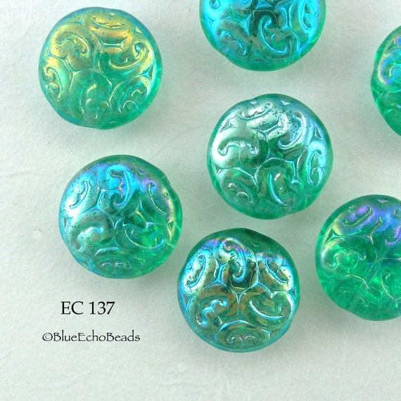 Czech Brocade Coin Beads Teal Green AB (EC 137) 5 pcs