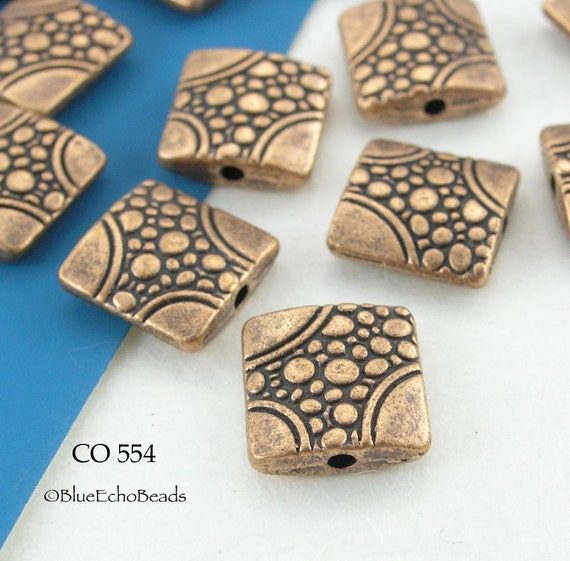 Square Copper Beads Antique Pebble Path (CO 554) blueecho 5 pcs