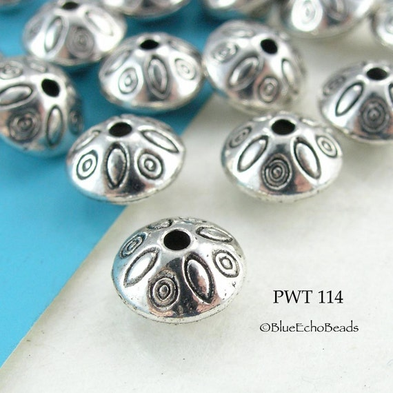 Pewter Spacer Beads Top with Ovals Antique Silver (PWT 114) blueecho 12 pcs