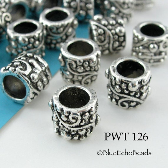 Large Hole Pewter Beads Tube with Scroll 9mm Antique Silver (PWT 126) blueecho 8 pcs by BlueEchoBead