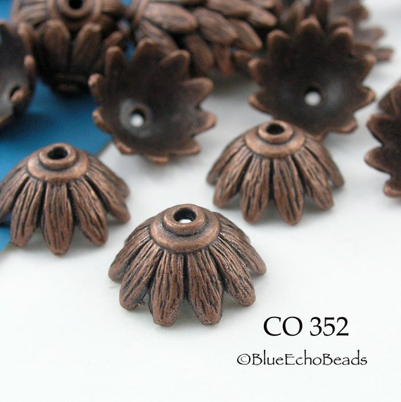 Copper Leaf Bead Cap Antiqued Copper 14mm Beadcap (CO 352) 10 pcs