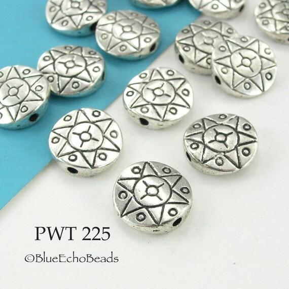 Pewter Beads Sun Star Disk Antique Silver 12mm (PWT 225) 15 pcs BlueEchoBeads