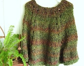 Little Girl's Poncho. Herb Garden. Greens and Copper Browns. Forest.