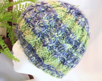 Slate Blue. Light Green. Striped Winter Hat. Cable Beanie. Handspun Yarn. Wool Beanie. Beanies for Women. Girlfriend Gifts. Gifts for Her.