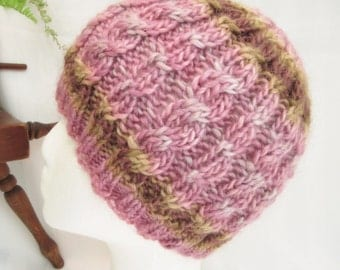 Wool Soy Cable Beanie. Very Soft Hand Knit Hat. Pale Violet.  Beanies for Women. Knit Hat. Womens Hats. Knit Beanie.