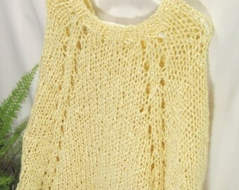 Little Girl's Poncho. Soft Bamboo Blend Yarn. Hand Knited. Buttercream. Cream. Knit Poncho. Knit Cape.