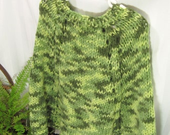 Little Girl's Poncho. Apple Green. Multiple Shades of Green. Knit Poncho. Knit Cape.