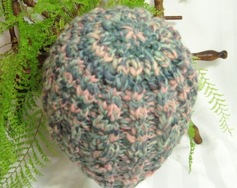 Handspun Cable Beanie. Knit Hat. Hand Knit. Wool Hat. Mountain Meadow. Dark Mossy Green. Light Mossy Green. Pale Peach. Beanies for Her.