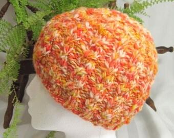Handspun Cable Beanie. Handspun Yarn. Merino Wool. Knit hat. Womens Beanie. Candy Corn. Orange-sicle. Orange. Yellow. White. Lemon Zest.
