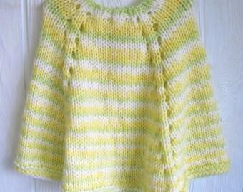 Little Girl's Poncho. Apple Green. Sunshine Yellow. White. Stripes. Lemon Zest. Tender Shoots. Knit Poncho. Knit Cape.
