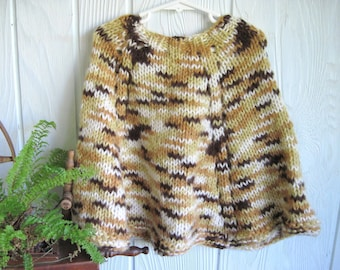 Ready to Ship. Little Girl's Poncho. Tan. Brown. Gold. Cream. Knit Poncho. Knit Cape. Sweater Cape. Joyful HandKnits.