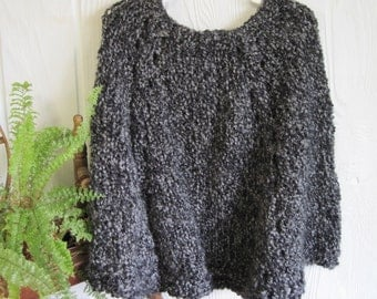 Little Girl's Poncho. Edwardian Grey. Charcoal Heather Gray. Soft Poncho. Dark Gray. Birthday present for little girl. Poncho for Ages 3-9.