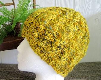 Handspun Cable Beanie. Handspun Yarn. Corriedale Wool. Vibrant Yelllow. Goldenrod. Brown. Sunshine. Lemon Zest.
