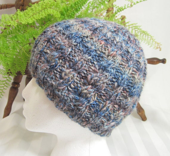 Hand Knit Hat. Handspun Cabled Beanie. Soft Handspun Wool and Seacell Blend Yarn. Adult Cabled Beanie. Blues and Beiges.