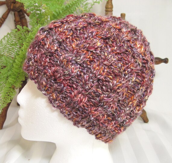 Handspun Cabled Beanie. Super Soft Merino Wool and Tencel. Copper Penny.
