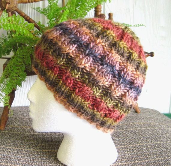 Wool Soy Cabled Beanie. Very Soft Hand Knitted Cap. Earth Tones. Brown. Slate. Copper.