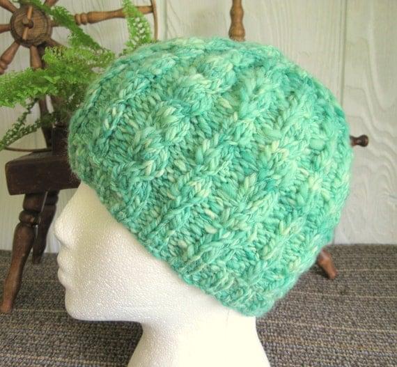 Handspun Cabled Beanie. Handspun Corriedale Wool. Soft Hand Knitted Cap. Sea Green. Mermaid.