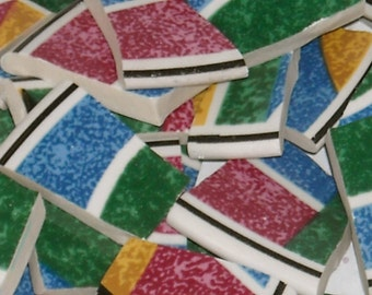 Multi colored Abstract Design Mosaic Tiles cut from plates