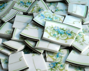 Vintage Mosaic tiles cut from  plates S9