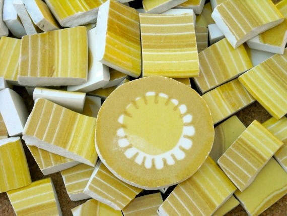 Retro Yellow handcut cut tiles for mosaics