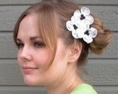 Charmante hair clip - white silk dupioni flowers with vintage beads