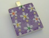 Lovely Flowers on Purple - Japanese Chiyogami - FREE SHIPPING ON ALL PENDANTS