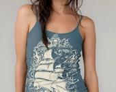 SALE Sailing Ship Organic Cotton Tank Top Earth Ocean Blue Pirate Ship Ladies Tank Top