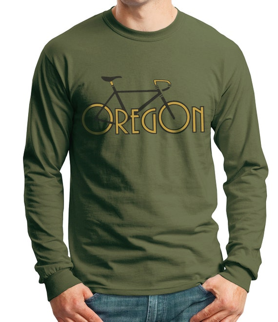CLEARANCE Men's Long Sleeve t-shirt Oregon Bike T-shirt Olive Green, Father's Day, Graduation
